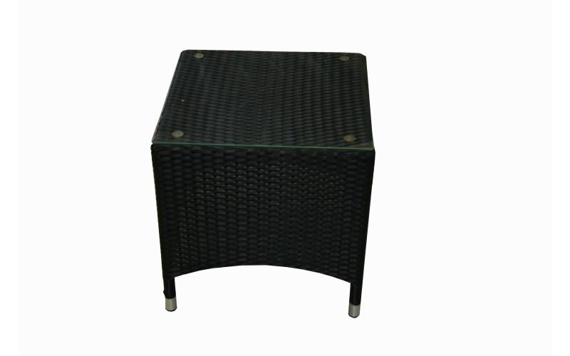 Sort polyrattan sidebord med glasplade 50x50x50cm