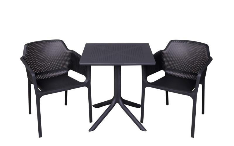 Clip 70x70cm Med Net Cafesæt Antracit