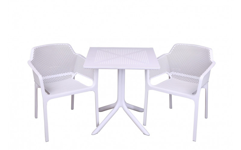 Clip 70x70cm Med Net Cafesæt Hvid