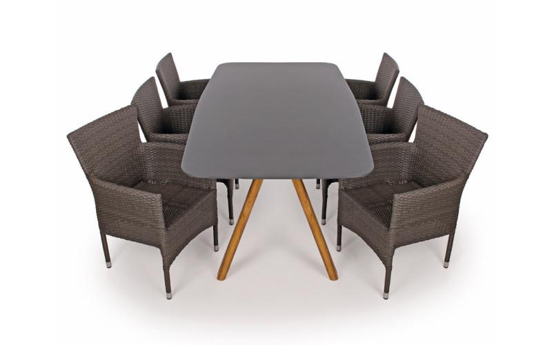 Milano Saba Havemøbelsæt - 100x200 cm - Grå