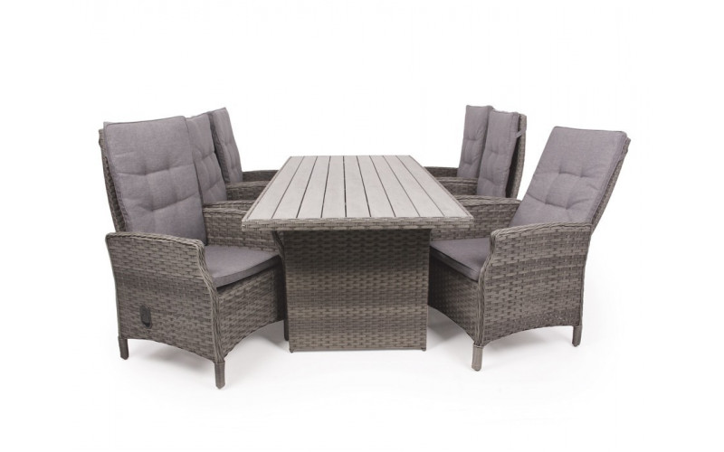 Siesta Grå Havemøbelsæt m/6 pos stole - 94x210 cm