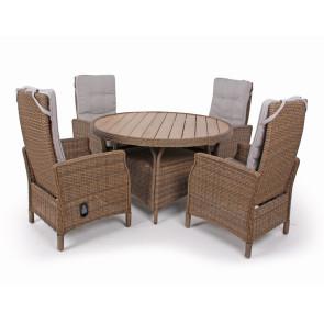 Siesta Dusty Havemøbelsæt m/4 indstillelige stole - Ø 130 cm