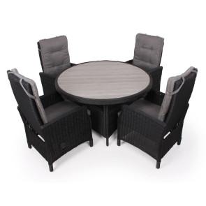 Siesta Sort Havemøbelsæt m/4 indstillelige stole - Ø 130 cm