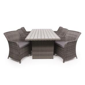 Siesta Grå Havemøbelsæt m/6 spisestole - 94x210 cm