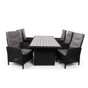 Siesta Sort Havemøbelsæt m/6 pos stole - 94x210 cm